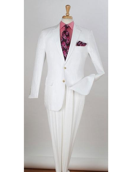 Big and Tall Large Man ~ Plus Size Regular Fit Beach Wedding outfit Two Piece Suit with Flat Front Pants - men's All White Linen Suit