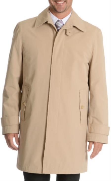 1960s -1970s Men's Clothing Blu Martini Button Up Single Breasted Rain Coat Tan $166.00 AT vintagedancer.com