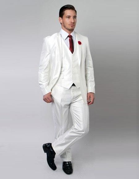 Single Breasted White Color Suit