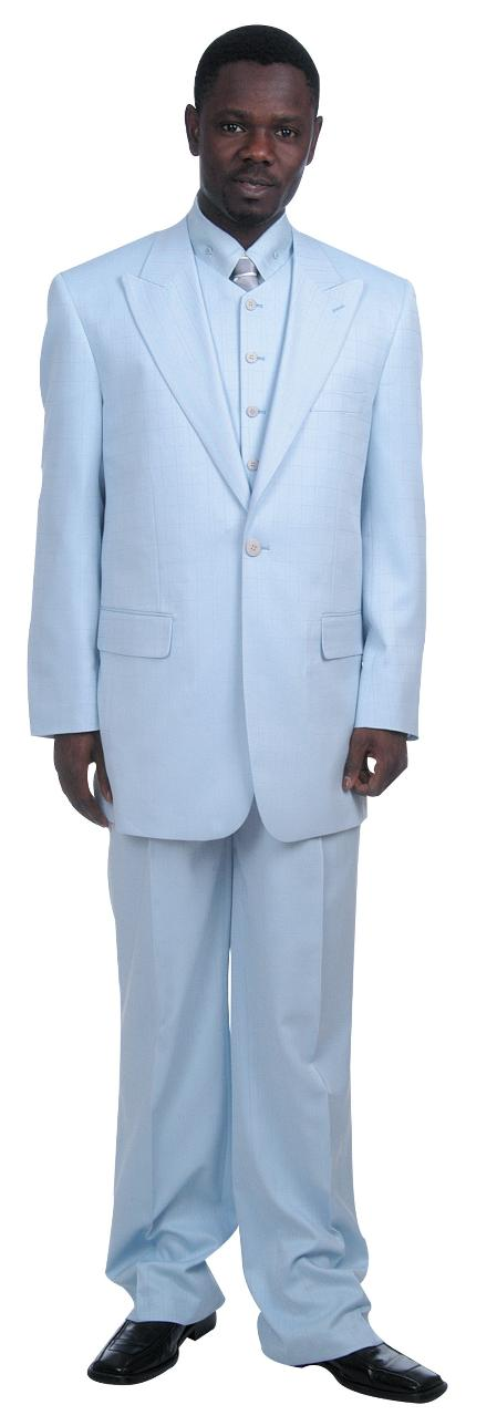 Fashionable Single Buttons Zoot Suit With Vest baby blue 65464ed4f