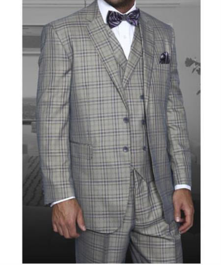 1930s Style Mens Suits ITALY Grey Two button 1 Wool Notch Lapel Pleated Wide Leg Pants Double breasted Vest $197.00 AT vintagedancer.com