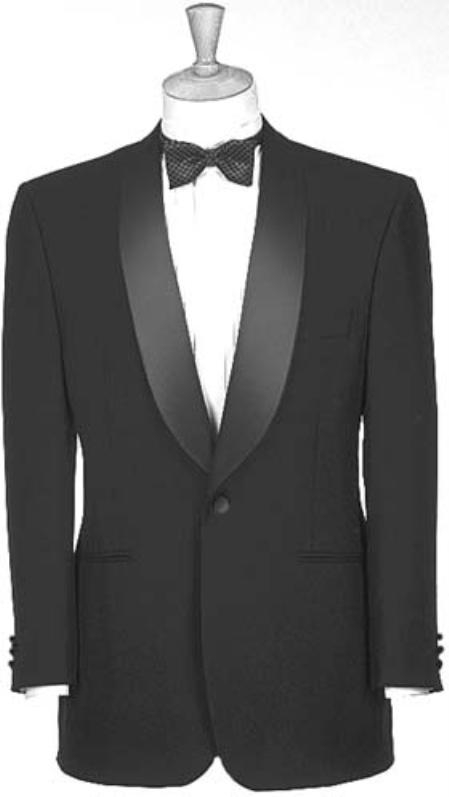 1950s Tuxedos and Men's Wedding Suits Dark color black Dinner Jacket Man Made Fiber Single Buttons Shawl Collar $140.00 AT vintagedancer.com