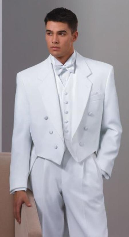 White Tuxedo with Tailcoat | Six Button Formal Tuxedo