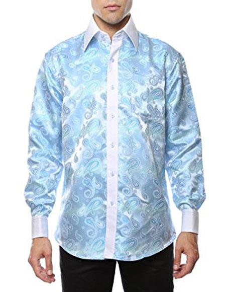 1960s – 70s Mens Shirts- Disco Shirts, Hippie Shirts Shiny Satin Floral Spread Collar Paisley Dress Shirt Sky Blue $56.00 AT vintagedancer.com