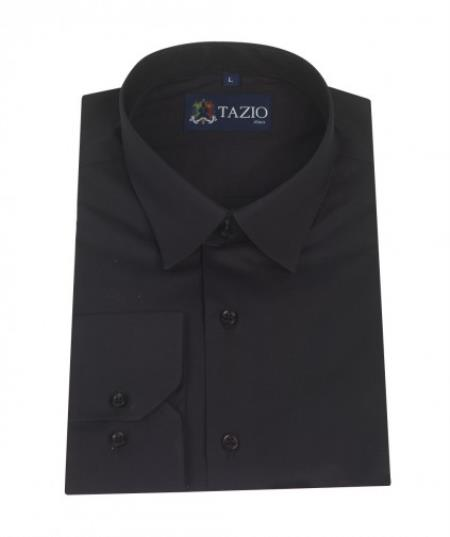 ID#KA5334 Dress Cheap Fashion Clearance Shirt Sale Online For Men Slim Fit - Dark color black