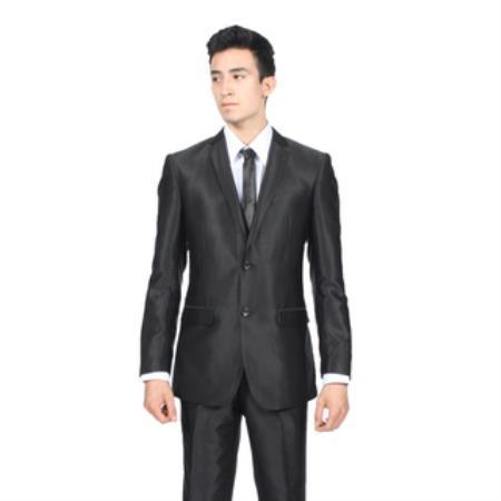 Slim Fit Shiny Black Suit