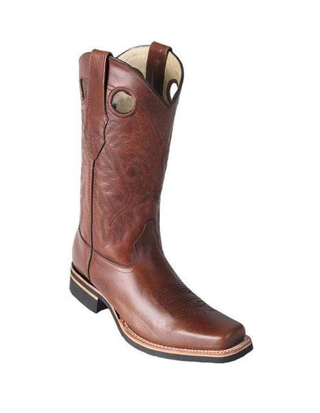 Handmade Square Toe Dress Cowboy Los Altos Boots Cheap Priced For Sale Online Brown With Saddle Rubber Sole