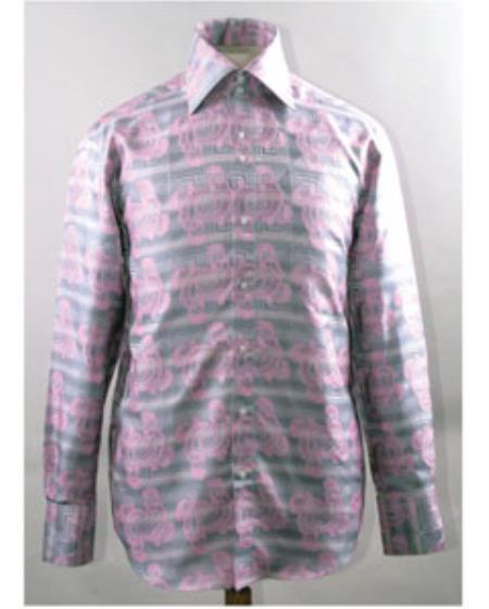 1960s -1970s Men's Clothing High Collar Swirl Pattern Pink Fabric Shiny Shirt $50.00 AT vintagedancer.com