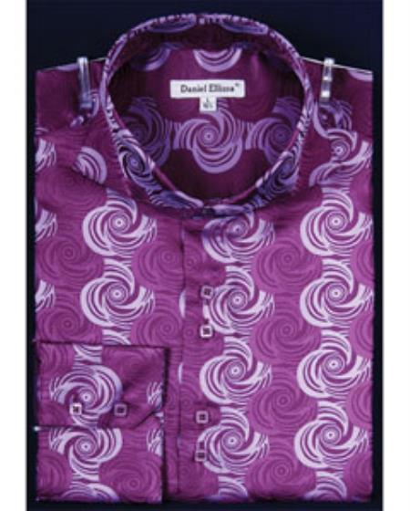 1960s – 1970s Mens Shirts- Dress, Mod, Disco, Turtleneck Swirl Pattern High Collar Fashion Shiny Shirt $47.00 AT vintagedancer.com