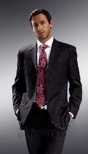 Mens Black Pinstripe Suit
