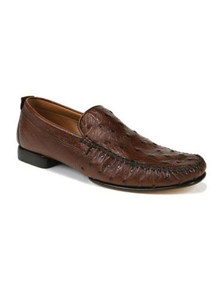 9956cf2573 Tabac Ostrich Skin Slip-on Loafers Leather Sole Shoes