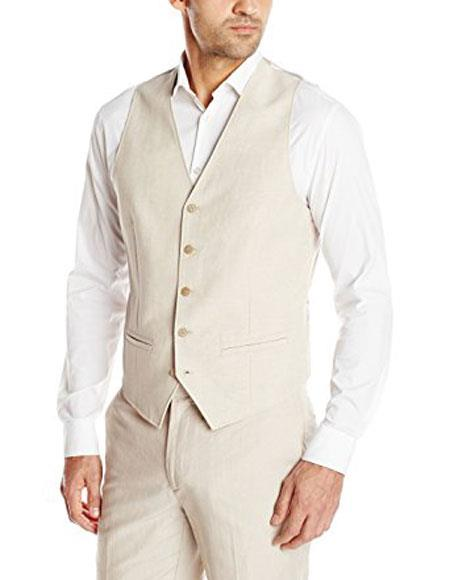Linen For Beach Wedding outfit - men's Vest & Pants In Natural Sand Tan Color