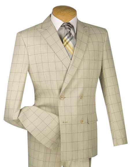 1920s Mens Suits | Gatsby, Gangster, Peaky Blinders Double Breasted 4 Button Slim Fit Tan Windowpane Pattern Peak Lapel Suit $140.00 AT vintagedancer.com