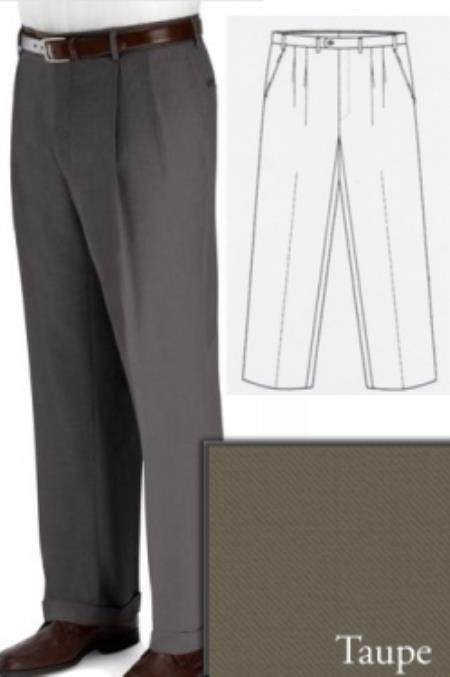 ID#PN90 Big and Tall Dress Pleated Pants Slacks For Taupe