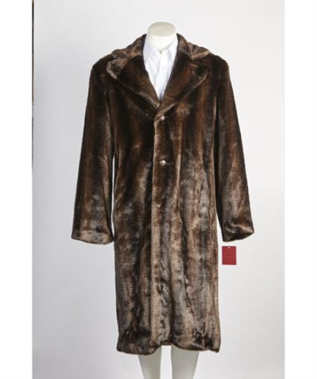 1960s Men's Clothing, 70s Men's Fashion Mens Brown 3 Button Long Fur Coat $200.00 AT vintagedancer.com