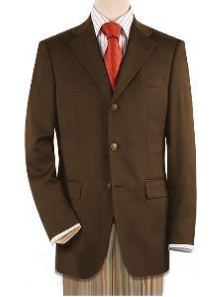 Three Button Front Jacket 4 On Sleeves Fully Lined Metal Buttons Brown Best Cheap Blazer For Affordable Cheap Priced Unique Fancy For Men Available Big Sizes on sale Men Affordable Sport Coats Sale