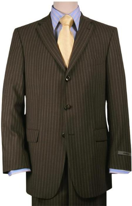Three Button Brown Wool Suit