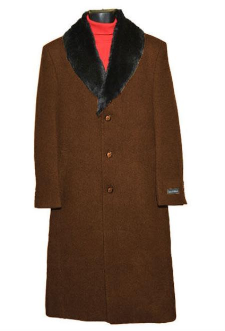 Men's Vintage Style Coats and Jackets Brown Fur Collar 3 Button Single Breasted Wool Full Length Overcoat  Topcoat $248.00 AT vintagedancer.com