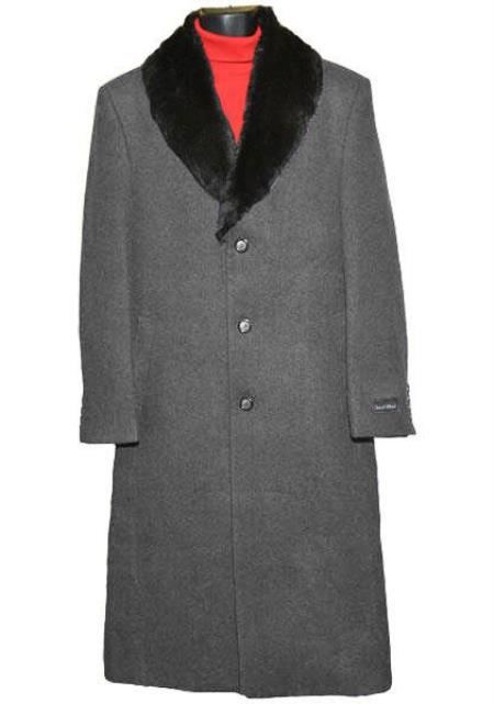 Men's Vintage Style Coats and Jackets Fur Collar Charcoal Grey 3 Button Single Breasted Wool Full Length Overcoat  Topcoat 0.95 $248.00 AT vintagedancer.com
