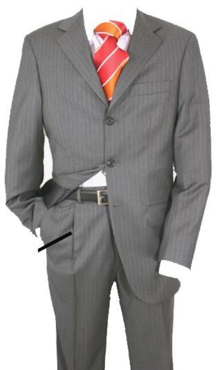Three Button Gray Pinstripe Suit