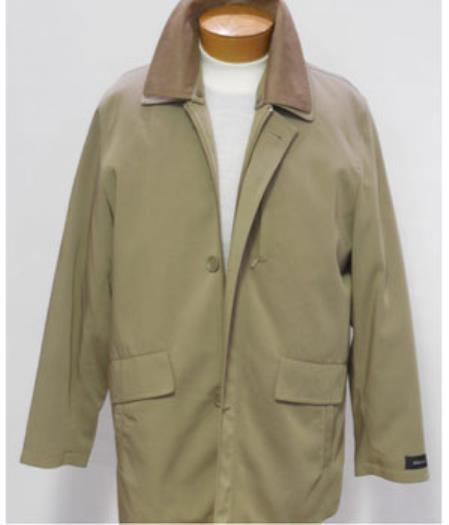 50s Men's Jackets| Greaser Jackets, Leather, Bomber, Gaberdine 43163 Rain OverCoat Khaki With 3 Button $151.00 AT vintagedancer.com