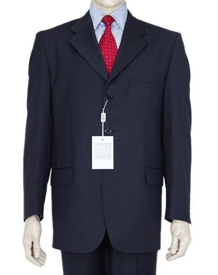 Three Button Navy Blue Suit