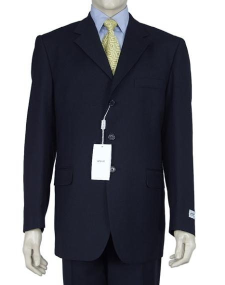 ID# W199 Dress  Dark navy blue colored Three buttons Double Vent Superior fabric 150's Suit