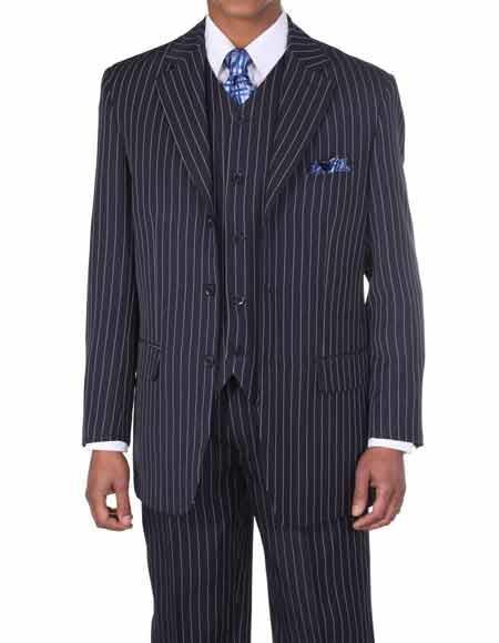 3 Button Navy Vested Pimp Suit