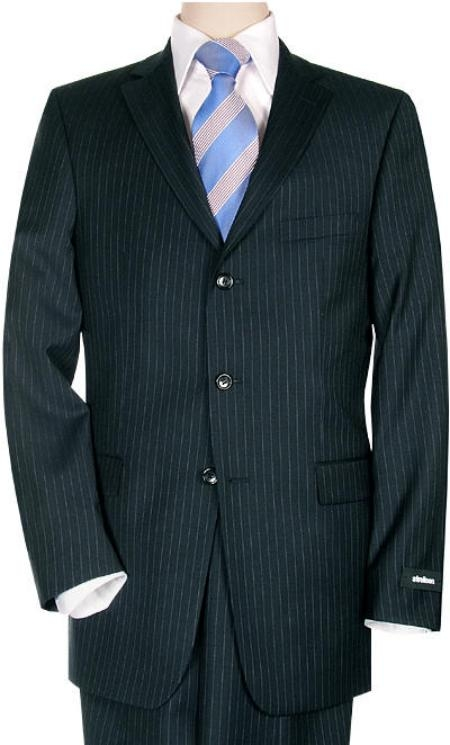 Three Button Navy Wool Suit