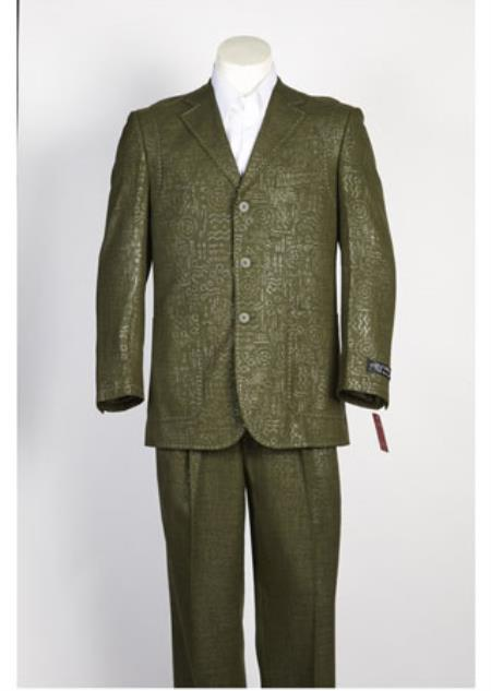Three Button Olive Color Suit