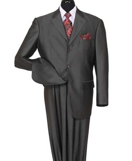 Three Button Shiny Black Suit