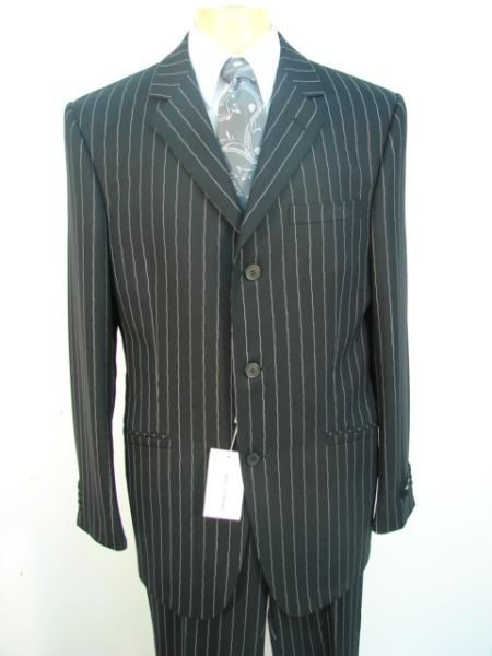 Three Buttons Black Pinstripe Suit