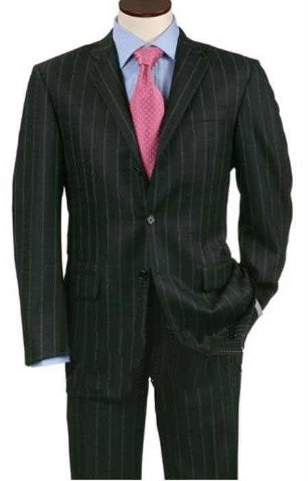 Three Buttons Black Wool Suits