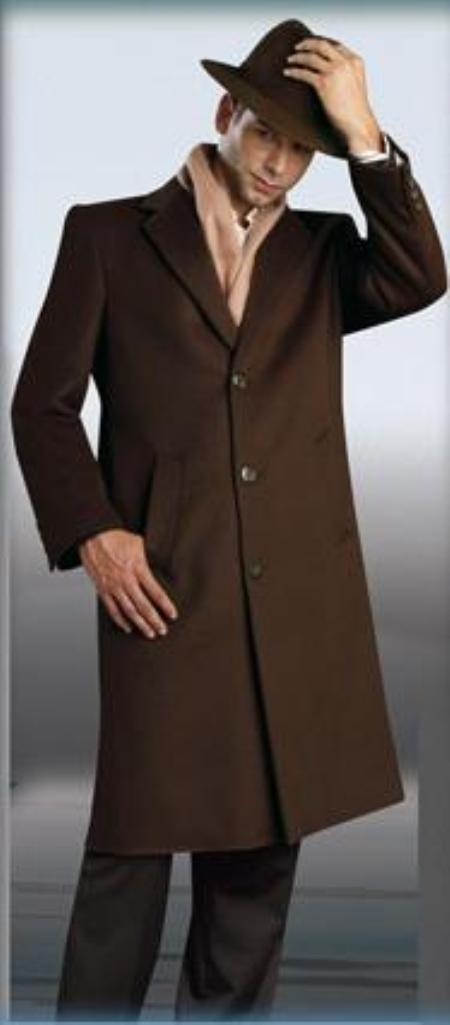 Men's Vintage Style Coats and Jackets Choclate Coco Chocolate brown Topcoat  overcoats for men 45 Single Breasted Three buttons Style WoolCashmere $176.00 AT vintagedancer.com