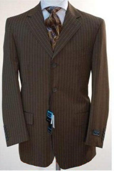 1900s Edwardian Men's Suits and Coats Chocolate Coco Chocolate brown pinstripe Three buttons suit Wool fabric Feel Touch Man Made Fiber Rayon $130.00 AT vintagedancer.com