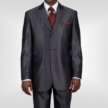 Three Buttons Gray Shiny Suit