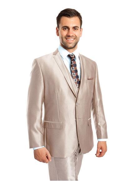 Three Piece Beige Color Suit