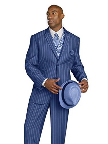 1920s Mens Suits EJ Samuel 3 Piece Cobalt Blue Bold Chalk Gangster Pinstripe Dress Suit With Matching Tie $163.00 AT vintagedancer.com