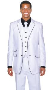 Black Two Buttons White Suit