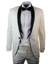 Cream Ivory Black Dinner Suit