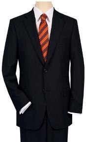 Dark Black Pinstripe Suit