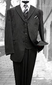 Dark Black Three Buttons Suit