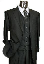Dark Black Two Buttons Suit