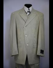 Double Breasted Beige Zoot Suit