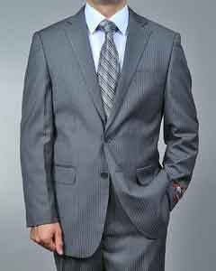 Grey Pinstripe 2 Button Suit