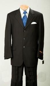 Mens Black Color Pinstripe Suit