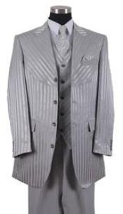 Mens Gray Shiny Suits