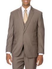 Mens Tan Vested Suit