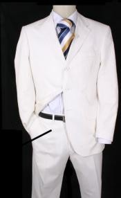 Three Button White Suit
