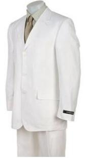 Mens Solid White Suit